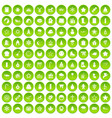 100 christmas icons set green circle vector image vector image