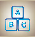 abc cube sign sky blue icon vector image