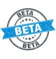 beta round grunge ribbon stamp vector image vector image