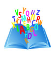 book with color letters closeup education logo vector image