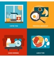 Breakfast and lunch icons set vector image vector image
