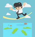 businessman balancing on rope crocodile vector image