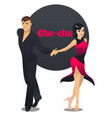 cha cha dancing couple in cartoon style vector image