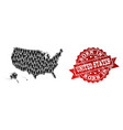 crowd collage of mosaic map of usa territories and vector image vector image