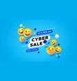 cyber sale template 3d yellow smiley face banner vector image vector image