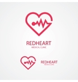 Design logo combination of a heart and pulse vector image
