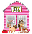 dogs in pink pet house vector image vector image