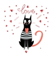 drawing enamored cat vector image vector image