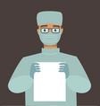 emergency doctor surgeon wearing medical mask vector image