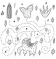 find out which cactus will get llama outline vector image vector image