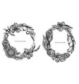 floral wreath black and white banana palm vector image vector image