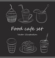 food cafe set morning breakfast lunch or dinner vector image vector image
