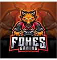 fox gamer esport holding game-pad joystick vector image vector image