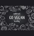 go vegan blackboard background with doodle vector image