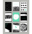 hand drawn ink doodles abstract design cards set vector image vector image