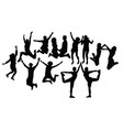 happy jumping people silhouettes vector image