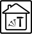 icon with house nails and hammer vector image