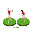 Isometric golfer Sport design elements vector image vector image