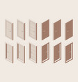 isometric outline brown color set interior vector image vector image