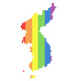 lgbt spectrum dot north and south korea map vector image