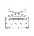 line snare drum musical instrument to play music vector image vector image