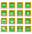 logistic icons set green vector image vector image