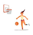 male disabled young sportswoman playing basketball vector image vector image