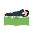 man is sleeping on dollars money under bed wealth vector image