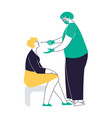medical nurse is taking pcr corona virus sample vector image