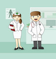 medical staff doctor and nurse vector image vector image