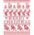 merry christmas scandinavian seamless pattern vector image vector image