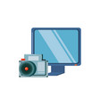 monitor computer with camera photographic vector image