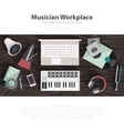 Musician workspace flat vector image vector image