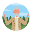 old man avatar round icon vector image