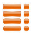 orange glass buttons collection of menu interface vector image vector image
