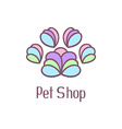 Original pet shop logo with pet paw vector image