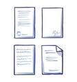 paperwork documents line art icons in sketch style vector image