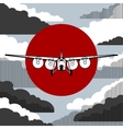 Plane icon over vintage background vector image