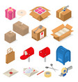 post office packing sign 3d icon set isometric vector image