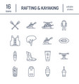 rafting kayaking flat line icons vector image vector image