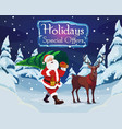 santa with a christmas tree and a deer vector image vector image