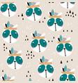 seamless pattern with cute panda face cartoon vector image