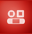 set bandage plaster icon on red background vector image vector image