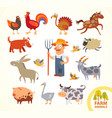 set funny farm little animals cartoon character vector image vector image