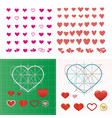 set of colored hearts in different shapes vector image