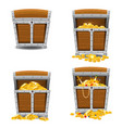 set old pirate chests full of treasures gold bars vector image vector image