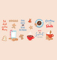 set winter drinks phrases and gingerbread vector image vector image