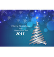 Silver ribbon make Christmas tree shape on blue sn vector image vector image