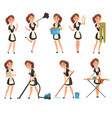 smilling maid posing in different situations set vector image vector image