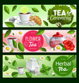 tea cups teapots and leaves with sugar teabags vector image